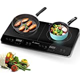 Induction Hob, Double Induction Hob Portable, 2800w, Aobosi Electric Hob Portable, Sensor Touch Control,Crystal Glass plate