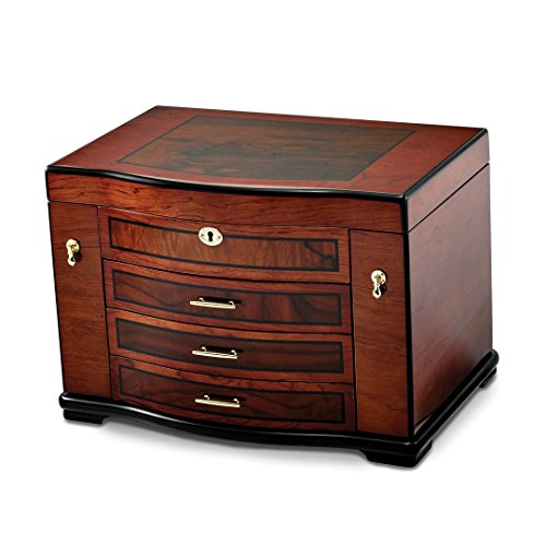 Saris and Things High Gloss Poplar w/Burlwood Inlay 3-drawer Luxury Jewelry (Burlwood Inlay)