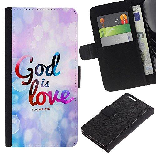 EuroCase - Apple Iphone 6 PLUS 5.5 - JOHN 4:16 GOD IS LOVE - Cuir PU Coverture Shell Armure Coque Coq Cas Etui Housse Case Cover