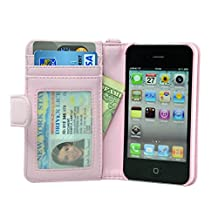 Navor Folio Wallet Case for iPhone 4 4S Pockets for Cards & Money, Clear Window Slot for License ID ( Light Pink )