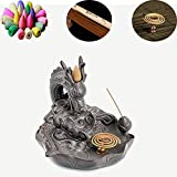 Chinese Dragon Incense Burner Ceramic Censer Backflow Incense Cone Stick Incense Holder Home Decoration with 40pcs Incenses (Dragon B)