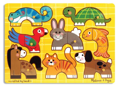 Mix Match Peg Puzzle - Melissa & Doug Pets Mix 'n Match Wooden Peg Puzzle (8 pcs)