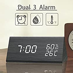 Digital Alarm Clock, 3 Alarm Settings, with Wooden Electronic LED Time Display, Dual Temperature & Humidity Detect, Ideal for Bedroom, Bedside Kids, Batteries not Needed