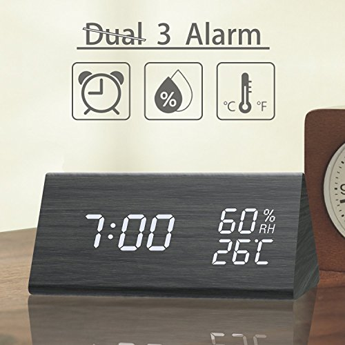 Digital Alarm Clock, 3 Alarm Settings, with Wooden Electronic LED Time Display, Dual Temperature & Humidity Detect, Ideal for Bedroom, Bedside Kids and Heavy Sleeper, Batteries not Needed by Ticktar