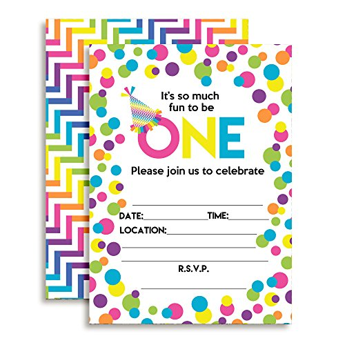 Amanda Creation Rainbow Polka Dot First Birthday Party Fill in Style Invitations. Set of 20 Including envelopes