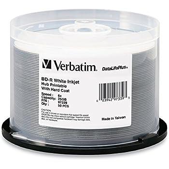 Verbatim BD-R 25GB 6X DataLifePlus White Inkjet Printable, Hub Printable - 50pk Spindle 97339