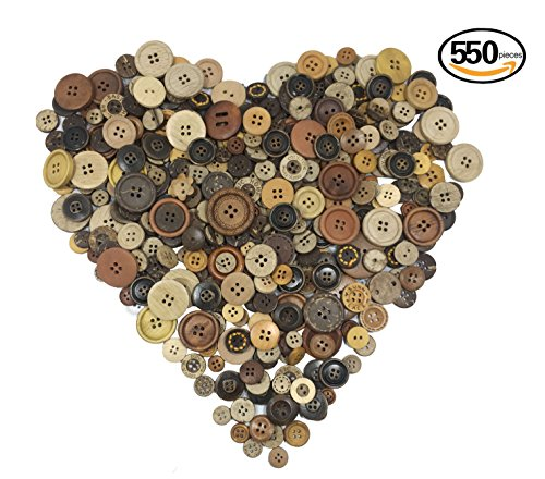 Heidi Craft Natural Round Buttons Assorted ,Coonut Shell Buttons,Brown Wooden Buttons Assorted Sizes,Craft buttons,Wooden Button in Bulk,Vintage Buttons for Crafts,Wood Buttons for Sewing (Doll Wood Vintage)