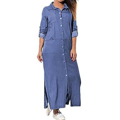 3dac4bb537 Byeel Women Denim Shirt Dress Long Sleeve Lapel Side Split Maxi Dress  Pockets Long Dress  Amazon.co.uk  Clothing