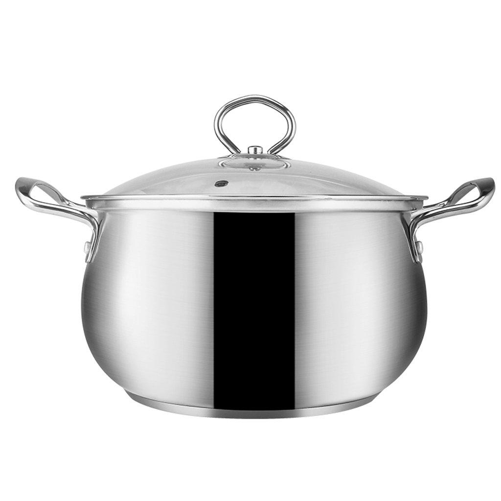 Soup pot Thick 304 Stainless Steel Soup Pot Home Multi-function Binaural Soup Pot Induction Cooker Universal 20/22 Cm (Size : 20cm)