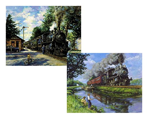 (wallsthatspeak 2 Train Prints Steam Engine Fishing Antique Station 8x10 Set)