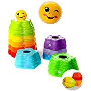 Premium Stacking Toy - The Rainbow Stacker! - 10 Easy-Stack Star Cups + Smile Face Ball - Teaches Colors, Numbers and Letters - Safe, Eco-Friendly ABS Plastic - Premium Quality Toy