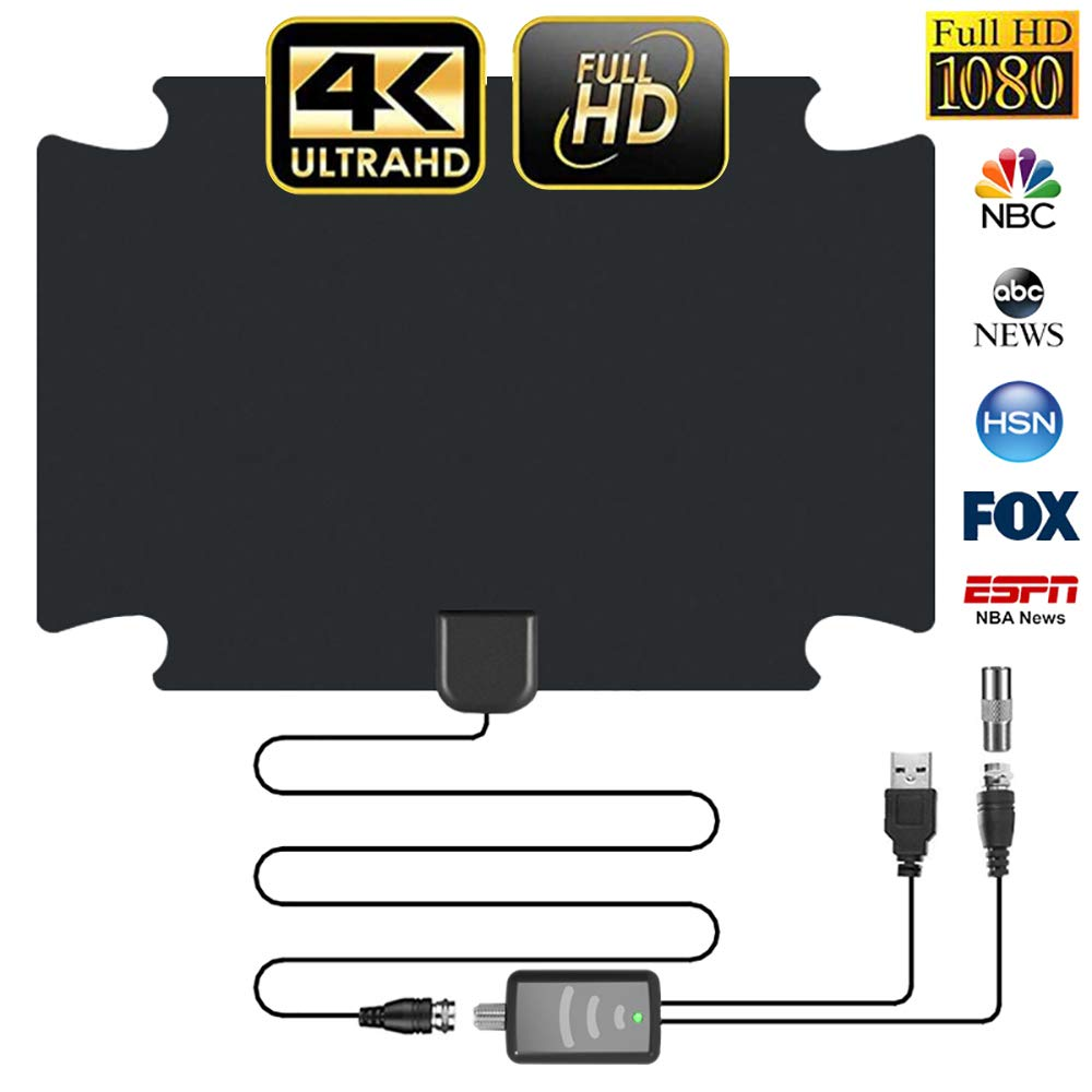 【2020 Latest】 HD Digital TV Antenna 150 Miles Amplifier Signal Booster Indoor Long Range HDTV Antennas Support 4K 1080P UHF VHF Local Free Channels (Coax Cable)