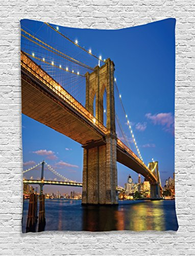Ambesonne Apartment Decor Collection, Brooklyn Bridge at Twilight in New