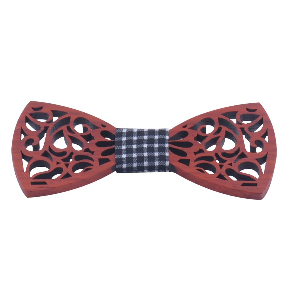 Amytong Natural imported wood handmade retro hollow wedding party gift carved bow tie