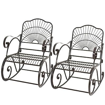 2 PACK Porch Rocker Metal Scroll Garden Chair Patio Iron Rocking Outdoor Deck Bonus free ebook By Allgoodsdelight365