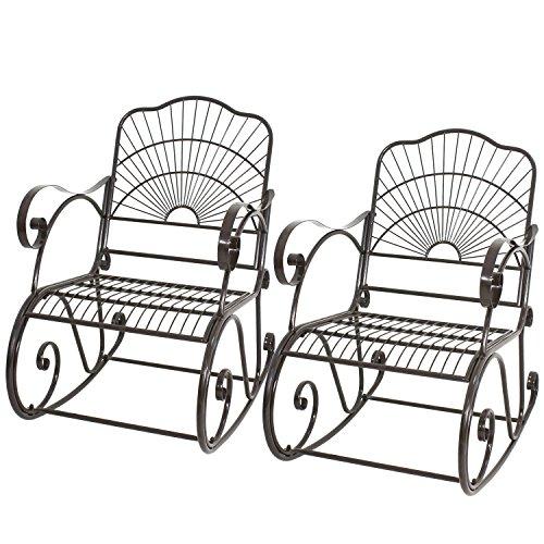 2 PACK Porch Rocker Metal Scroll Garden Chair Patio Iron Rocking Outdoor Deck Bonus free ebook By Allgoodsdelight365 (Oasis Beach Garden Chairs Long)