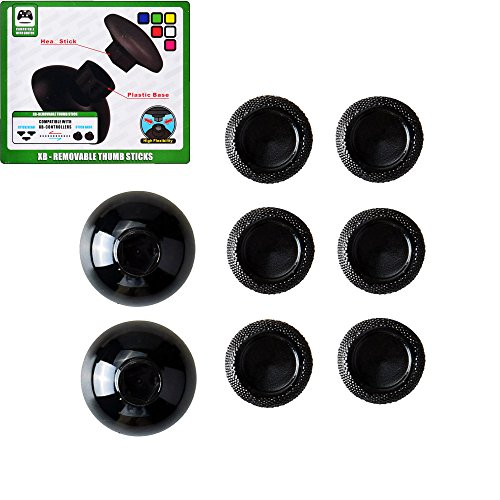Mcbazel 8 in 1 Removable 9mm 7mm 4mm Thumb Stick Thumbstick Cap for Xbox One Controller Black ()