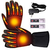 Men Women Heated Gloves Rechargeable Electric Battery Heat Gloves Unisex Sports Outdoor Recreation Heating Gloves Touchscreen Climbing Hiking Hunting Camping Handwarmer,3 Heat,Black