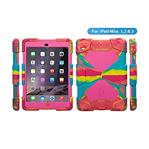 Aceguarder 3323540 Waterproof Silicone Case with Stand for iPad Mini, iPad Mini 2, iPad Mini 3 Bundle with Carabiner, Whistle and Touch Pen - Ice / Rose