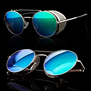 Metal Frame Side Shield Oval 52mm Hipster Round Sunglasses Vintage Retro Steampunk Gothic