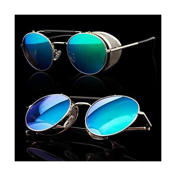 Metal Frame Side Shield Oval 52mm Hipster Round Sunglasses Vintage Retro Steampunk Gothic 4