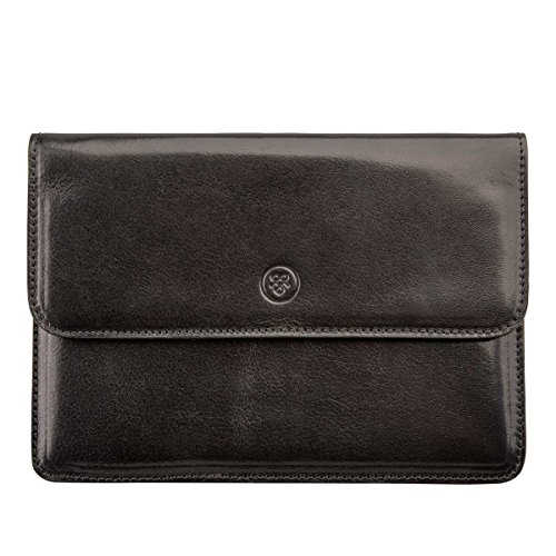 Maxwell Scott Personalized Luxury Black Leather Travel Organiser (Torrino) by Maxwell Scott Bags