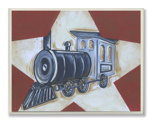 - The Kids Room by Stupell Blue Train on White Star and Red Background Rectangle Wall Plaque