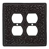 Vicenza Designs WPJ7003 San Michele Wall Plate with Jumbo Double Outlet Opening, Oil-Rubbed Bronze