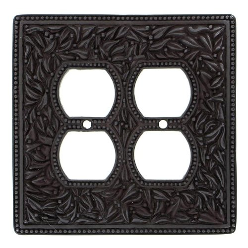 Vicenza Designs WPJ7003 San Michele Wall Plate with Jumbo Double Outlet Opening, Oil-Rubbed Bronze by Vicenza Designs