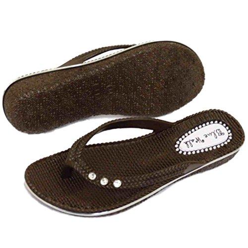Damen Flach Braun Zehensteg Sandale Flip Flop Strandurlaub Tanga Sommer Schuhe Größen 3-8