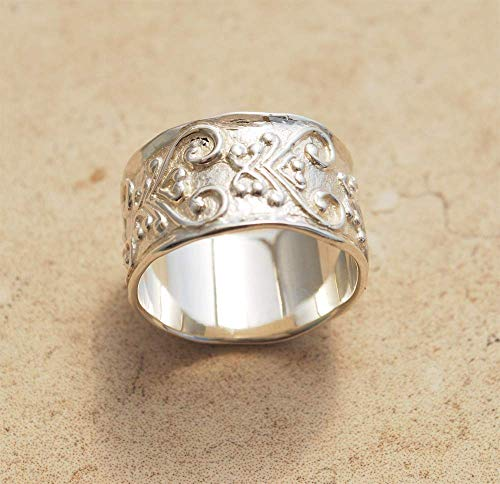 (Unique Wide Large Paisley Patterned Ethnic Oriental Romantic Heart Silver Wedding Band Ring For Her Her Woman Every Day Wear)