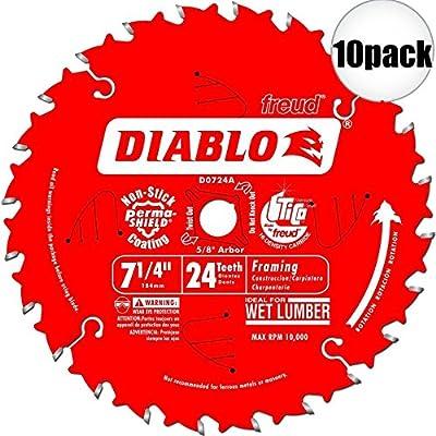 Diablo D0724A 7-1/4 x 24T Carbide Framing Saw Blade 10-Pack