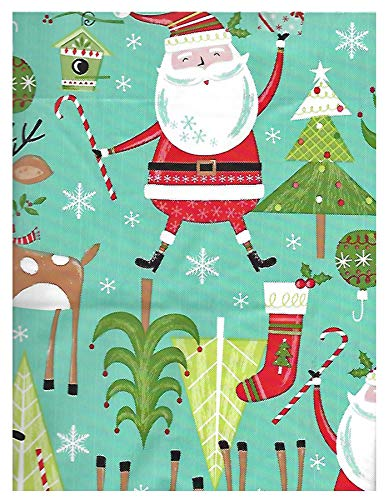 (Newbridge Jingle Bells Santa Claus Fun Christmas Print Vinyl Flannel Backed Tablecloth, Whimsical Santa and Reindeer Xmas Tablecloth, (60 Inch x 84 Inch)