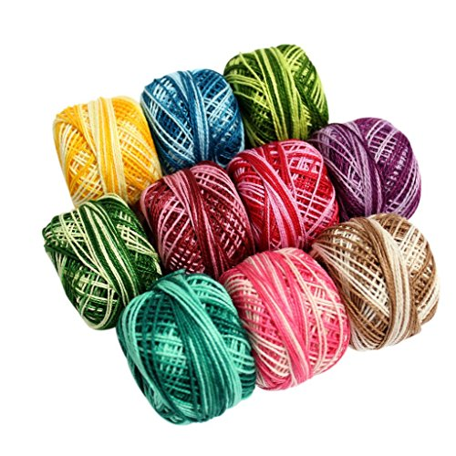 (10 Pcs of Colourful Stripey Crochet Cotton Thread Reels- 950 Metres- Crafts Knitting Lacing,Croceht,Crocia,Brilliant Colurs ,Ideal For Making Crochet Dolls, Artistry,Weaving,Box Pack)