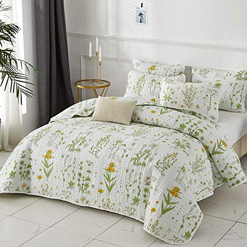 Joyreap 2 Pieces Microfiber Quilt Set, Botanical Printed Summer Quilt, Yellow Flowers Green Leaves on White Pattern, Bedspread Bed Cover for All Season, 1 Quilt n 1 Pillow sham (Floral,Twin)