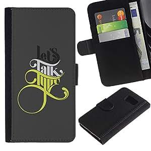 KLONGSHOP / Tirón de la caja Cartera de cuero con ranuras para tarjetas - Lets Talk Type - Samsung Galaxy S6 SM-G920