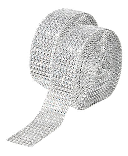 Mandala Crafts Faux Diamond Bling Wrap, Faux Rhinestone Crystal Mesh Ribbon Roll for Wedding, Party, Centerpiece, Cake, Vase Sparkling Decoration (1.5 Inches 8 Rows 20 Yards, Silver)