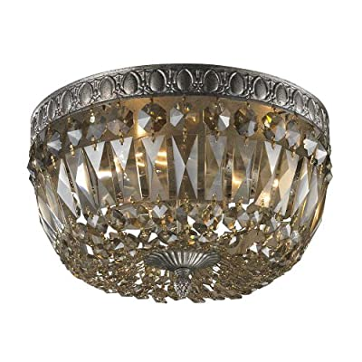 Elk 11490/3 3-Light Flush Mount with Amber Teak Plated Crystal, 12 by 8-Inch, Sunset Silver Finish