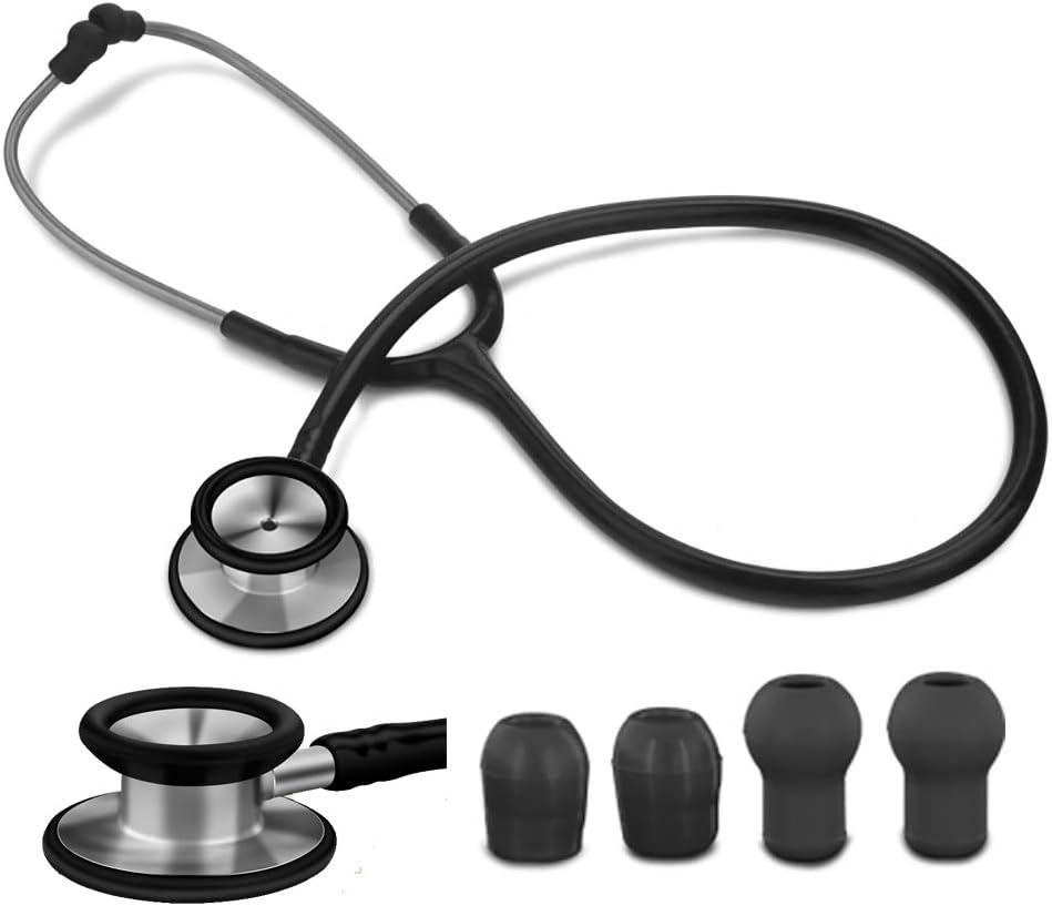 SUN RDPP Estetoscopio Principal Dual para el Doctor Enfermera de Estudiante de Medicina, diafragma Extra y 2 Paquetes de Olivas, clásico y Ligero