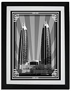 Photo of Damac Tower-Black And White With Silver Border No Text F06-M (A3)