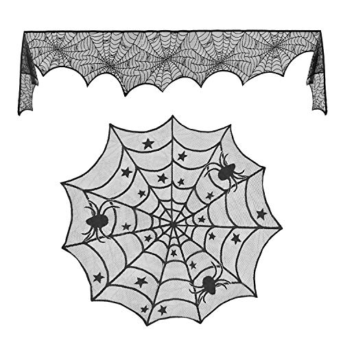 Alcoon 18 x 96 Inch Halloween Black Lace Spiderweb Fireplace Mantle Scarf Cover and 40 Inch Black Spider Round Tablecloth Lace Table Cover Topper for Halloween Decorations Home Party Supplies