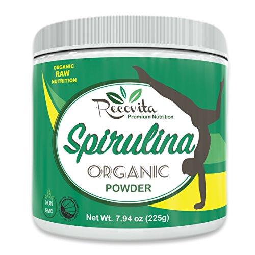 Recovita Organic Spirulina Powder – Powerful Natural Vitamin & Cellular Health Supplement for Men & Women – 225g Jar – Non GMO and Organic Certified