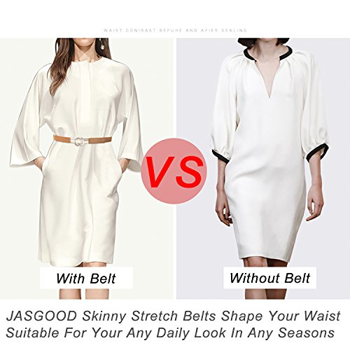JASGOOD-2-Pack-Women-Retro-Elastic-Stretchy-Metal-Buckle-Skinny-Waist-Cinch-Belt-1Inch-Wide