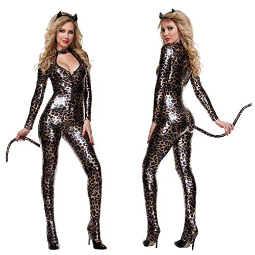 Sexy Pajamas Queen's Cat Dress DS Leopard-Print Cat Girl's Night Shop Costume,A -