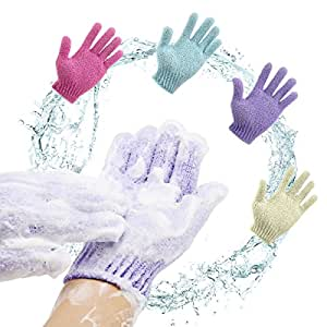 Scheam Exfoliating Gloves Body Spa Gloves Dead Skin Cell Remover Bath Gloves Shower Massage Scrubber, 4 Pairs
