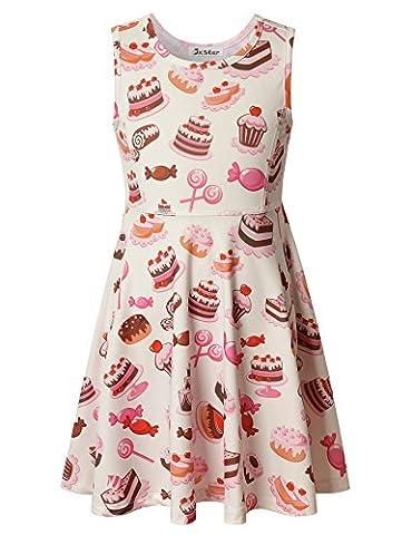 Jxstar Girl's Dress Sweet Lollipop Print for Skater Rainbow Candy Pattern Sleeveless Dress Cake 160 - Pink Cupcake Print