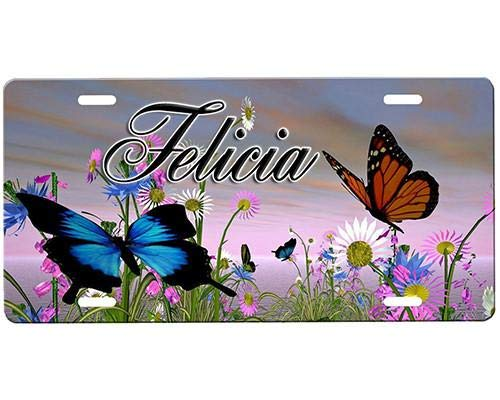 (Custom License Plates Butterflies (2) Aluminum - Decorative Auto Car Truck Front License Plate, Vanity Tag, 6 x 12 Inch)
