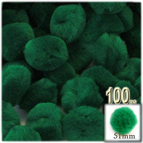 the-crafts-outlet-100-piece-multi-purpose-pom-poms-acrylic-51mm-about-20-inch-round-emerald-green