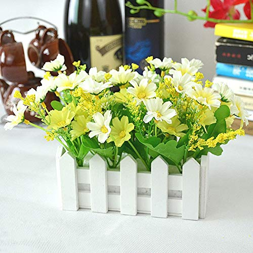 Artificial Dried Flowers - Wedding Decor Artificial Flower Fake Daisy In White Picket Fence Pot Pack Louis Simulation Flowers - Pot Toy Flower Christmas Garden Stake Tree Jellyfish Sticker Fence
