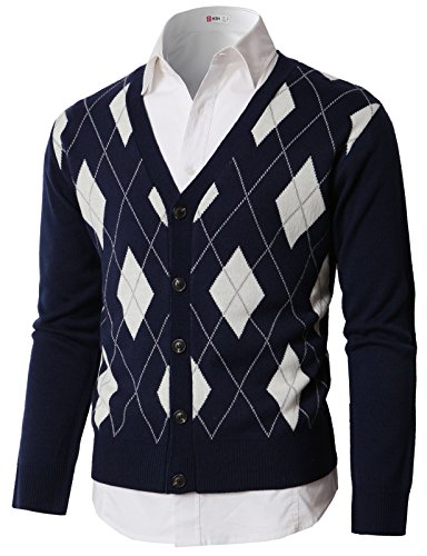 Argyle Jumper - H2H Men's Stylish V-Neck Button Placket Cardigan Sweater with Argyle Knitted Navy US M/Asia L (KMOCAL0189)